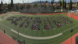 "Students at Granada Hills Charter High School spell ""enough"""