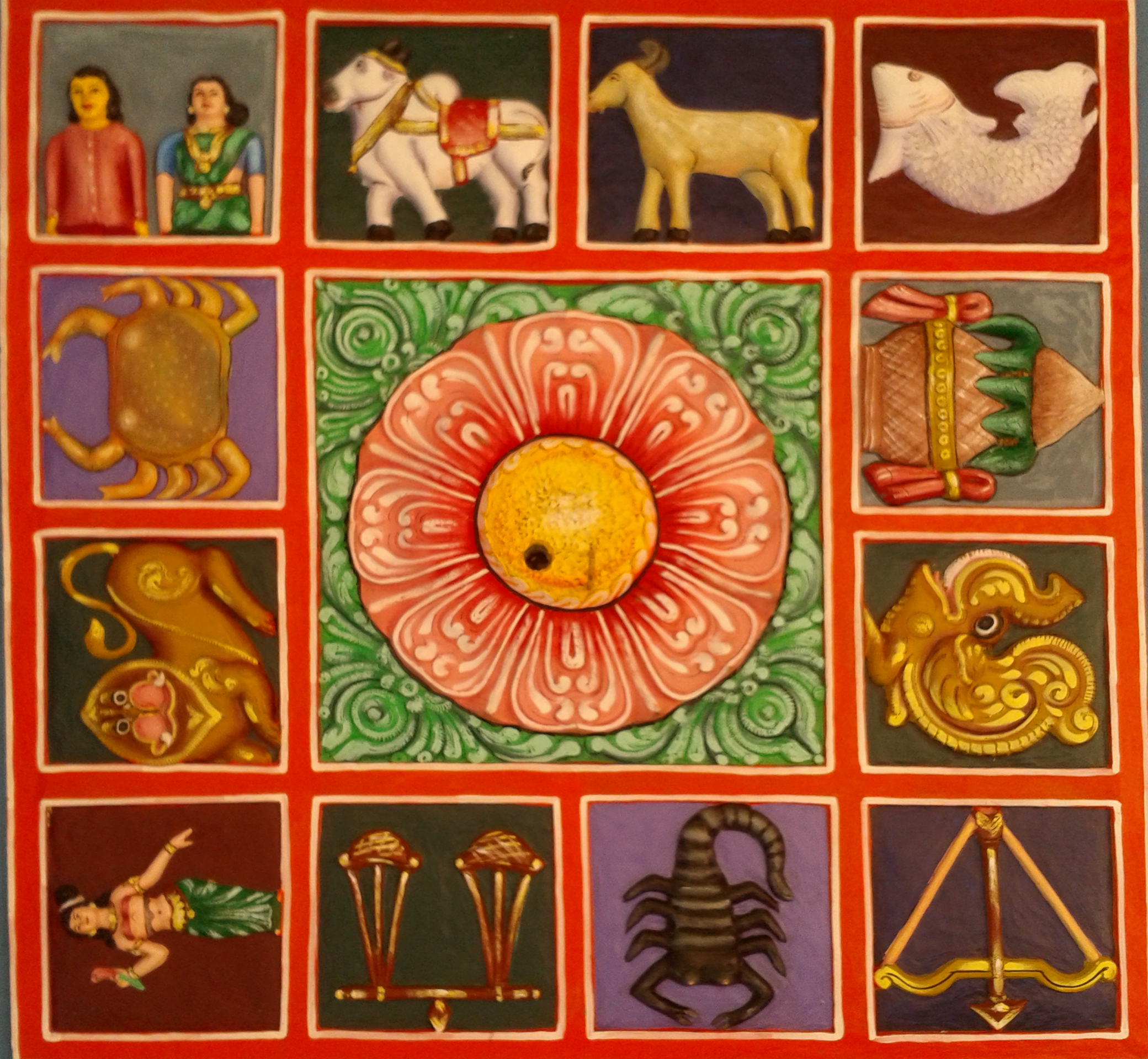 Zodiac Symbols / Painted Relief on the Terrace of a Gopuram at Kanipakam